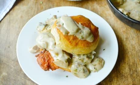 Chicken Biscuits with Mushroom Gravy Image