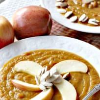 Vegan Pumpkin Soup with Leeks, Pears, and Apples