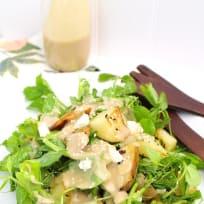 Warm Potato + Pea Tendril Salad with Maple Tahini Dressing