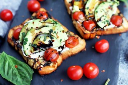 Grilled Open-Faced Avocado Caprese Sammies Recipe