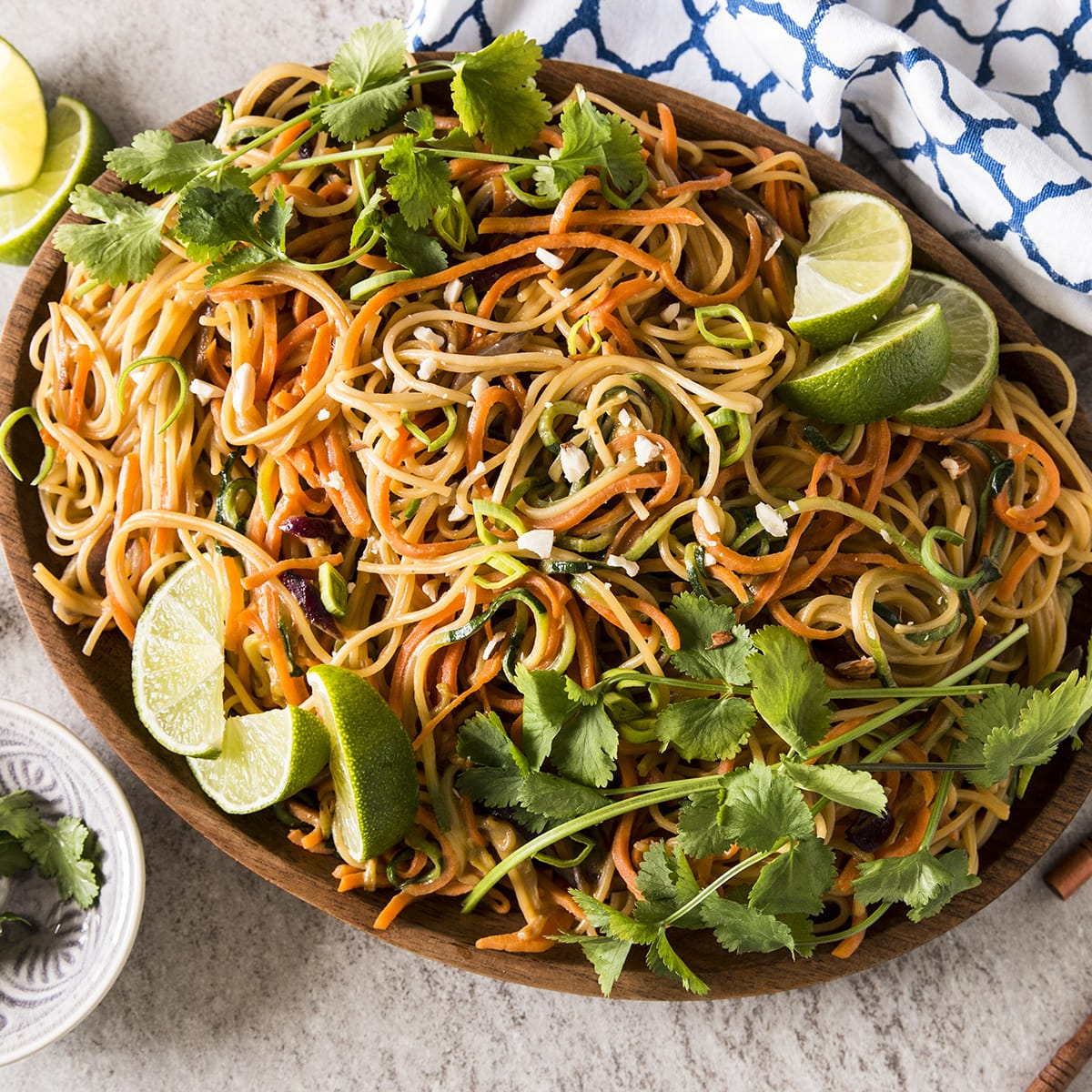 Thai Peanut Noodles With Spiralized Vegetables Recipe Food Fanatic