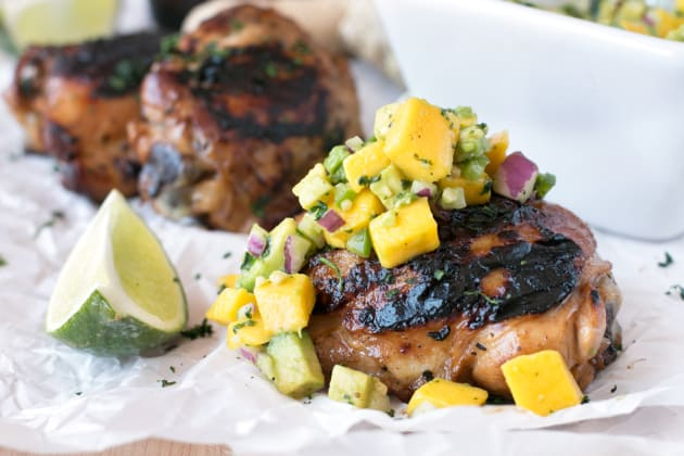Spicy Ginger Grilled Chicken Thighs with Mango Avocado Salsa Photo