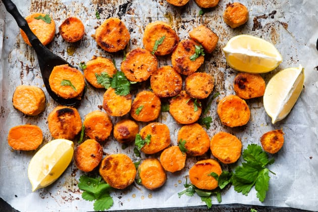 Roasted Tahini Maple Sweet Potatoes Photo