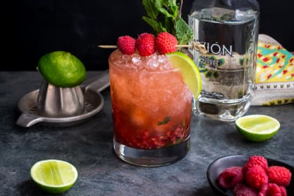 Raspberry Mint Tequila Smash