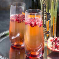St. Germain and Pomegranate Champagne Cocktail Recipe