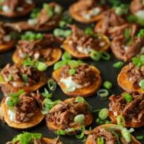 Redstone Chipotle Apricot Pulled Pork Potato Bites