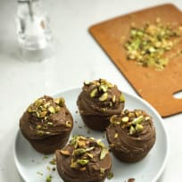 Salted Texas Chocolate Cupcakes with Pistachios