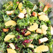 Warm Orange + Cranberry Kale Salad