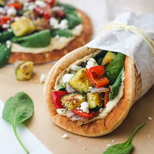 Zucchini and hummus pita sandwiches photo