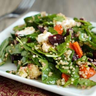 Roasted beet and carrot quinoa salad photo