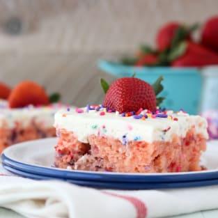 Funfetti strawberry poke cake photo