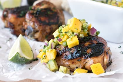 Spicy Ginger Grilled Chicken Thighs with Mango Avocado Salsa