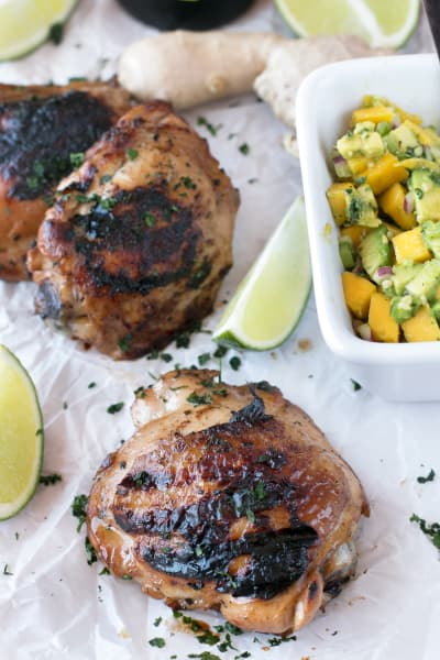 File 3 Spicy Ginger Grilled Chicken Thighs with Mango Avocado Salsa