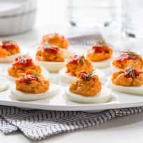 Harissa Goat Cheese Deviled Eggs Recipe