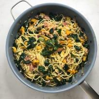 Spaghetti with Pancetta, Kale, and Butternut Squash