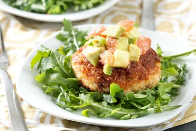 Crispy Crab Cakes with Avocado Grapefruit Salsa Photo