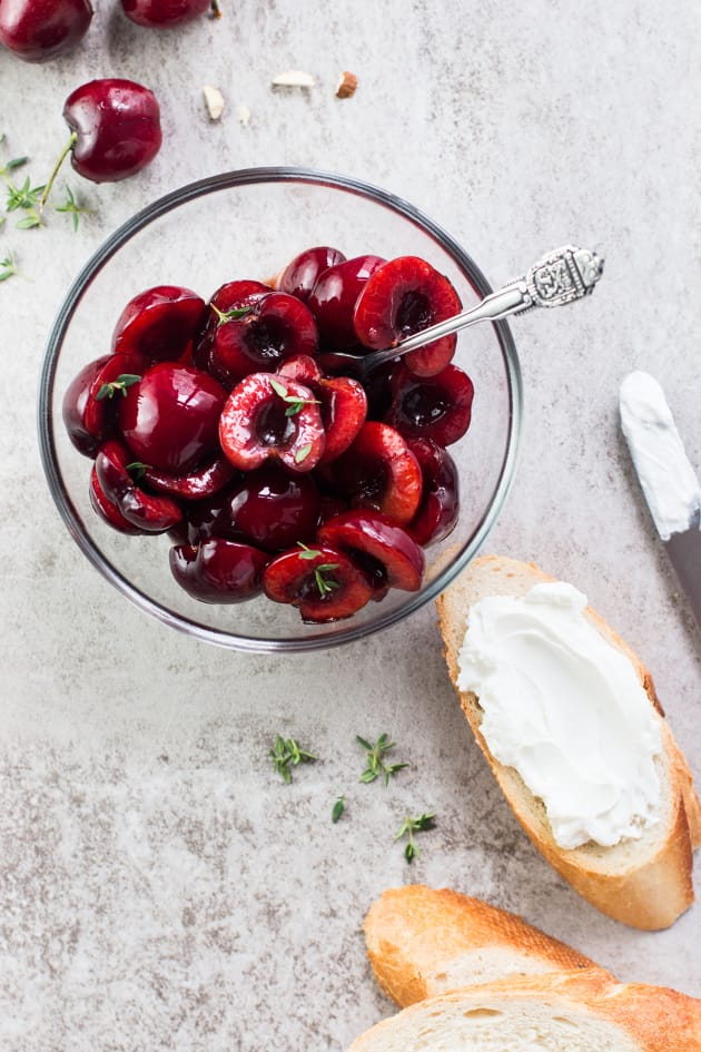 Cherry Goat Cheese Crostini with Thyme and Almonds Image