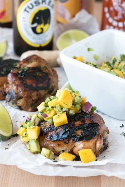 Spicy Ginger Grilled Chicken Thighs with Mango Avocado Salsa Picture
