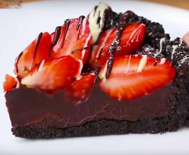 Slice of Chocolate Strawberry Tart