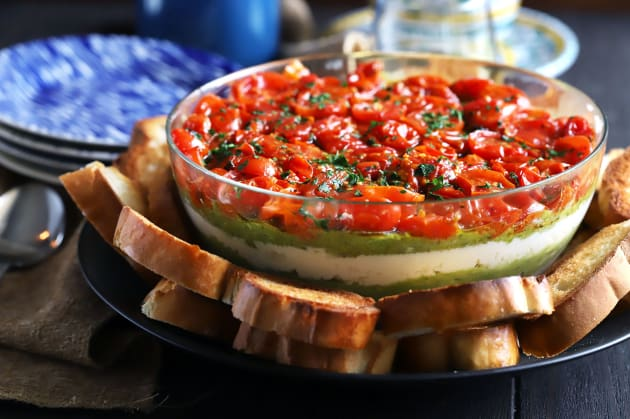 Avocado Ricotta Tomato Pesto Layer Dip Photo