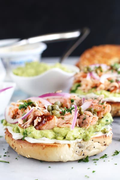 Smoked Salmon Avocado Cream Cheese Bagel Picture