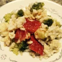 Rice with Parmesan Cheese Broccoli and Tomatoes