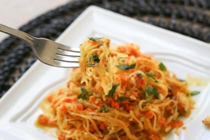 Spaghetti Squash with Walnut-Carrot Sauce
