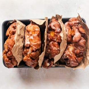 Peach fritters with maple glaze photo
