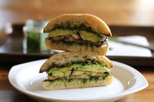 Roasted Eggplant Kale Pesto Sandwich Photo