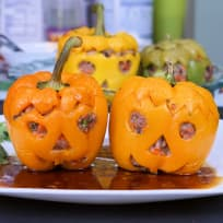 Halloween Jack-o'-lantern - Stuffed Bell Pepper with Pork and Shrimp