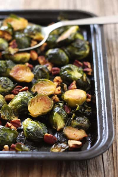 Maple Roasted Brussels Sprouts with Sriracha Pic