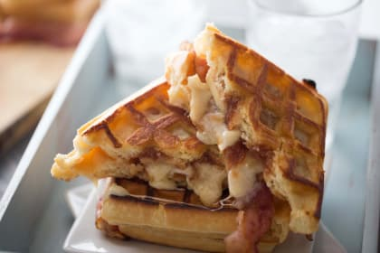 Apple Butter Bacon Waffle Sandwich