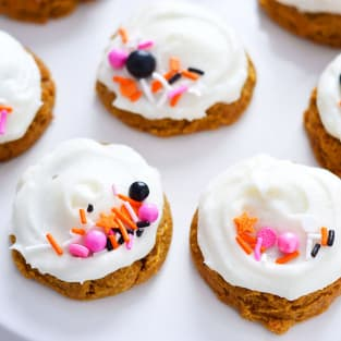 Gluten free pumpkin cookies with cream cheese frosting photo