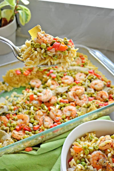 File 1 One Pan Lemon Artichoke & Shrimp Orzo