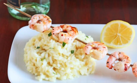 Lemon Risotto with Grilled Shrimp Photo