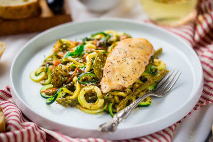 Slow Cooker Italian Chicken with Zucchini Noodles