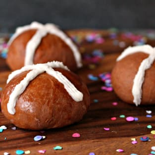 Chocolate caramel hot cross buns photo