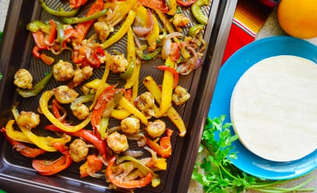 Sheet Pan Citrus Rock Shrimp Fajitas Recipe