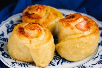Ham & Cheddar Pretzel Rolls