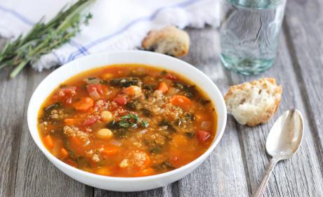 Quinoa Chickpea Spinach Soup