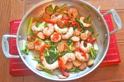 Cajun Sausage Shrimp and Greens
