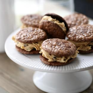 Peanut butter chocolate sandwich cookies photo