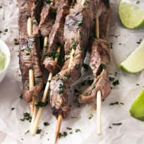 Grilled Cilantro Lime Beef Skewers with Jalapeño Avocado Dipping Sauce Recipe