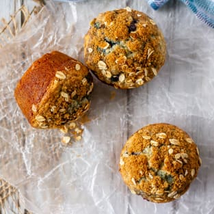 Blueberry oatmeal muffins photo