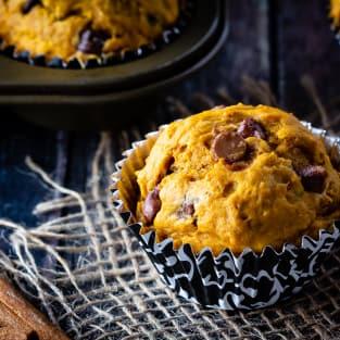 Chocolate chip pumpkin muffins photo