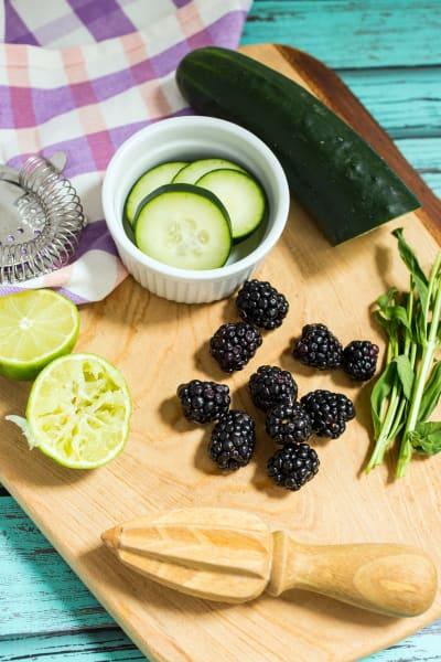 Blackberry Cucumber Tarragon Gin Fizz Picture