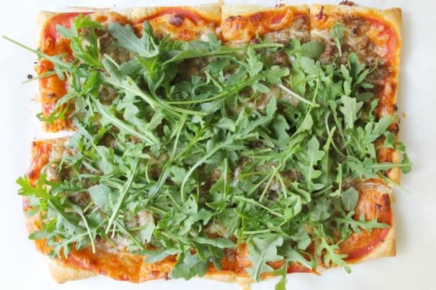 Puff Pastry Sausage and Arugula Pizza Photo
