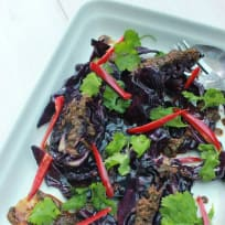 BBQ Red Cabbage with Yellow beans and Ginger Dressing