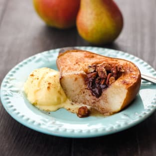 Toaster oven baked pears photo