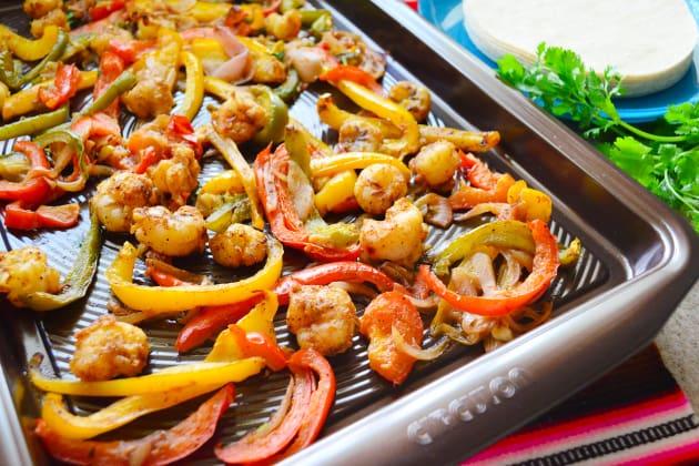Sheet Pan Citrus Rock Shrimp Fajitas Image